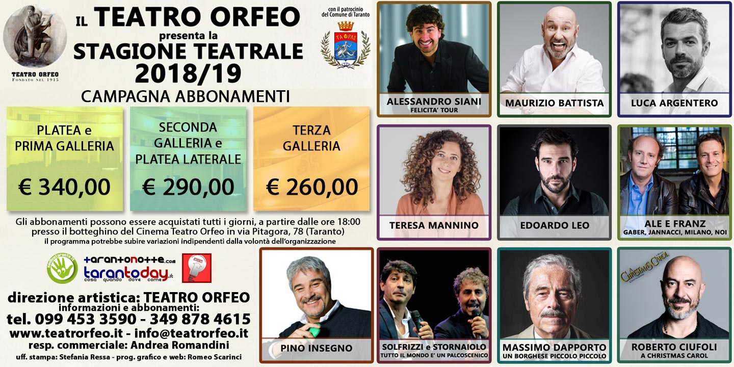 Stagione Teatrale Orfeo 2017/18