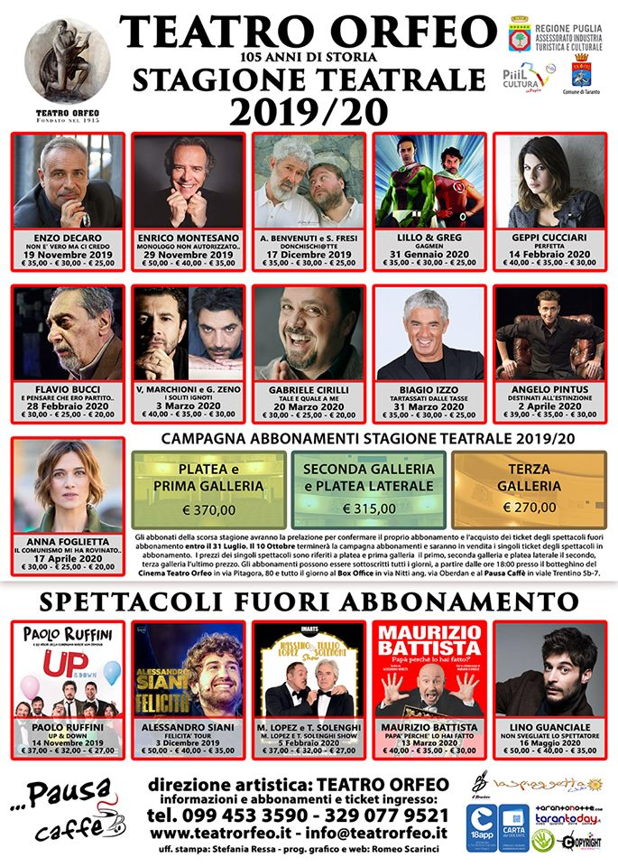 Stagione Teatrale Orfeo 2019-2020